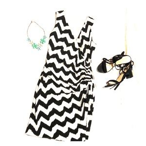 Black & white chevron wraparound dress
